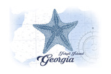 Jekyll Island, Georgia - Starfish - Blue - Coastal Icon Posters by  Lantern Press