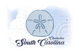 Charleston, South Carolina - Sand Dollar - Blue - Coastal Icon Prints by  Lantern Press