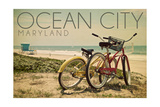 Ocean City, Maryland - Bicycles and Beach Scene Print by  Lantern Press