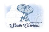 Hilton Head, South Carolina - Beach Chair and Umbrella - Blue - Coastal Icon Print by  Lantern Press