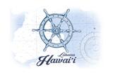 Lahaina, Hawaii - Ship Wheel - Blue - Coastal Icon Prints by  Lantern Press