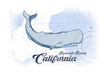 Redondo Beach, California - Whale - Blue - Coastal Icon Posters by  Lantern Press