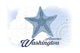 Anacortes, Washington - Starfish - Blue - Coastal Icon Posters by  Lantern Press