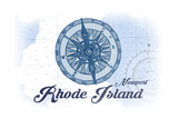Newport, Rhode Island - Compass - Blue - Coastal Icon Prints by  Lantern Press