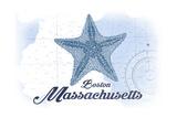 Boston, Massachusetts - Starfish - Blue - Coastal Icon Posters by  Lantern Press