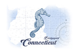 Bridgeport, Connecticut - Seahorse - Blue - Coastal Icon Posters by  Lantern Press