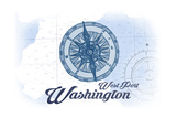 West Port, Washington - Compass - Blue - Coastal Icon Posters by  Lantern Press