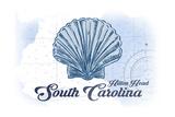 Hilton Head, South Carolina - Scallop Shell - Blue - Coastal Icon Posters by  Lantern Press