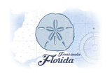 Pensacola, Florida - Sand Dollar - Blue - Coastal Icon Posters by  Lantern Press