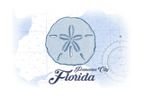 Panama City, Florida - Sand Dollar - Blue - Coastal Icon Prints by  Lantern Press
