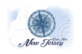 Cape May, New Jersey - Compass - Blue - Coastal Icon Prints by  Lantern Press