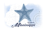Gulfport, Mississippi - Starfish - Blue - Coastal Icon Poster by  Lantern Press