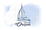 Seaside, Oregon - Sailboat - Blue - Coastal Icon Prints by  Lantern Press