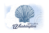West Port, Washington - Scallop Shell - Blue - Coastal Icon Prints by  Lantern Press