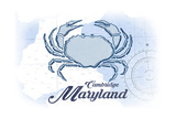 Cambridge, Maryland - Crab - Blue - Coastal Icon Prints by  Lantern Press