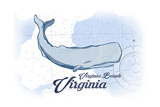 Virginia Beach, Virginia - Whale - Blue - Coastal Icon Art by  Lantern Press