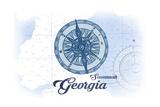 Savannah, Georgia - Compass - Blue - Coastal Icon Print by  Lantern Press