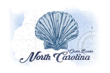 Outer Banks, North Carolina - Scallop Shell - Blue - Coastal Icon Plakater af Lantern Press