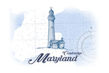 Cambridge, Maryland - Lighthouse - Blue - Coastal Icon Posters by  Lantern Press