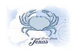 Padre Island, Texas - Crab - Blue - Coastal Icon Art by  Lantern Press