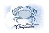 Santa Barbara, California - Crab - Blue - Coastal Icon Prints by  Lantern Press