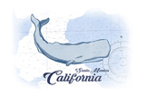 Santa Monica, California - Whale - Blue - Coastal Icon Prints by  Lantern Press