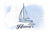 Lahaina, Hawaii - Sailboat - Blue - Coastal Icon Prints by  Lantern Press