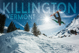 Killington, Vermont - Snowboarder Jumping Art by  Lantern Press