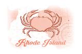 Rhode Island - Crab - Coral - Coastal Icon Posters by  Lantern Press