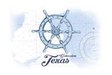 Galveston, Texas - Ship Wheel - Blue - Coastal Icon Prints by  Lantern Press