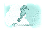 Connecticut - Seahorse - Teal - Coastal Icon Posters by  Lantern Press