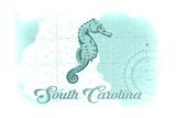 South Carolina - Seahorse - Teal - Coastal Icon Prints by  Lantern Press