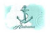 Alabama - Anchor - Teal - Coastal Icon Poster by  Lantern Press