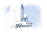 Waikiki, Hawaii - Lighthouse - Blue - Coastal Icon Posters by  Lantern Press