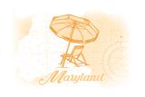 Maryland - Beach Chair and Umbrella - Yellow - Coastal Icon Prints by  Lantern Press