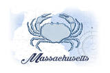 Massachusetts - Crab - Blue - Coastal Icon Posters by  Lantern Press