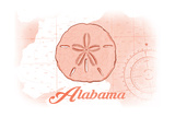 Alabama - Sand Dollar - Coral - Coastal Icon Prints by  Lantern Press