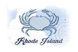Rhode Island - Crab - Blue - Coastal Icon Prints by  Lantern Press