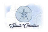 South Carolina - Sand Dollar - Blue - Coastal Icon Prints by  Lantern Press
