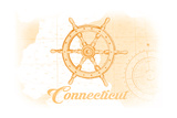 Connecticut - Ship Wheel - Yellow - Coastal Icon Prints by  Lantern Press
