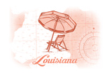 Louisiana - Beach Chair and Umbrella - Coral - Coastal Icon Prints by  Lantern Press