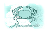 Massachusetts - Crab - Teal - Coastal Icon Poster by  Lantern Press