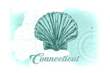 Connecticut - Scallop Shell - Teal - Coastal Icon Prints by  Lantern Press