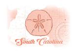 South Carolina - Sand Dollar - Coral - Coastal Icon Posters by  Lantern Press