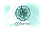 Hawaii - Compass - Teal - Coastal Icon Posters by  Lantern Press