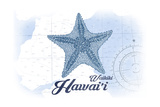 Waikiki, Hawaii - Starfish - Blue - Coastal Icon Poster by  Lantern Press