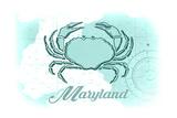 Maryland - Crab - Teal - Coastal Icon Print by  Lantern Press