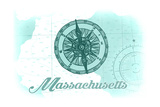 Massachusetts - Compass - Teal - Coastal Icon Posters by  Lantern Press