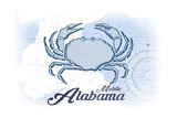 Mobile, Alabama - Crab - Blue - Coastal Icon Print by  Lantern Press