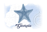 Georgia - Starfish - Blue - Coastal Icon Poster by  Lantern Press